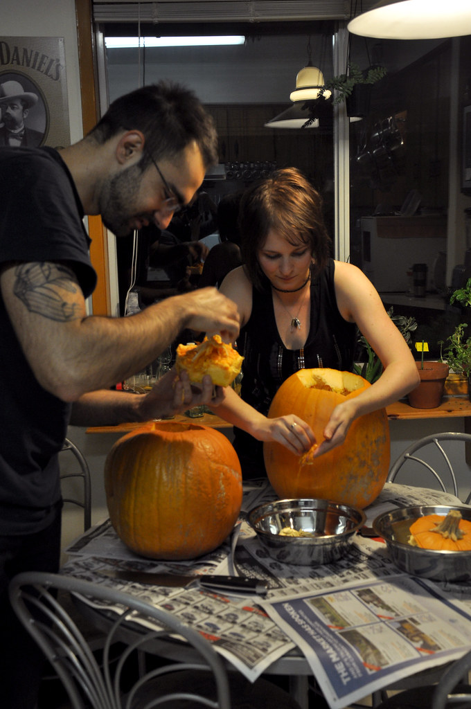gutting pumpkins