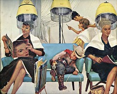 Who Shot The Sheriff? (Wires In The Walls) Tags: illustration cowboy cover scanned salon 1960s 1961 hairdryer beautyparlor saturdayeveningpost kurtard kidsoutfit