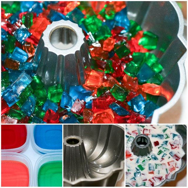 Broken Glass Jello Bundt collage