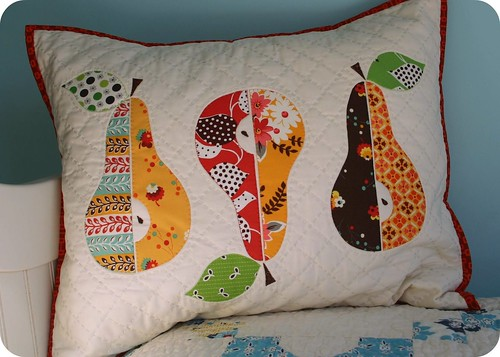 three pears mini quilt as a pillow