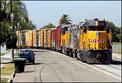 Olive Street Running  --  Anaheim, California (greenthumb_38) Tags: california street railroad usa train jeep unionpacific remote locomotive boxcar orangecounty anaheim boxcars gp switcher emd gp38 streetrunning jeffreybass localjob remotesled