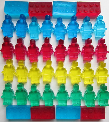 Lego shaped soap using ice cube trays