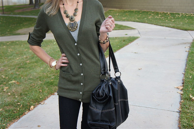 Green gray and black outfit
