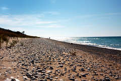 Beach at the end of the Dune Climb at Sleeping Bear Dunes National Lakeshore (The Trey) Tags: camping fall beach engagement sand october hiking michigan bluesky lakemichigan foliage shesaidyes 2011 gettingengaged gisteq phototrackr amyandtrey sleepingbeardunesnattionallakeshore