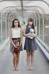 runaway love. ([lost in the world]) Tags: bridge girls portrait urban cute beautiful 50mm pretty urbanoutfitters crying makeup dresses barefoot runaway 50mm18 runaways
