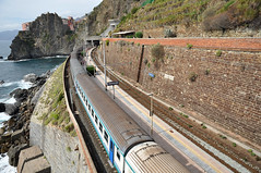 Manarola Train Station (webeagle12) Tags: park railroad vacation italy house fish eye station train nikon europe riviera italia village liguria rail cliffs national tiny terre mm nikkor manarola cinque riomaggiore trenitalia d90 1685 thefivelands