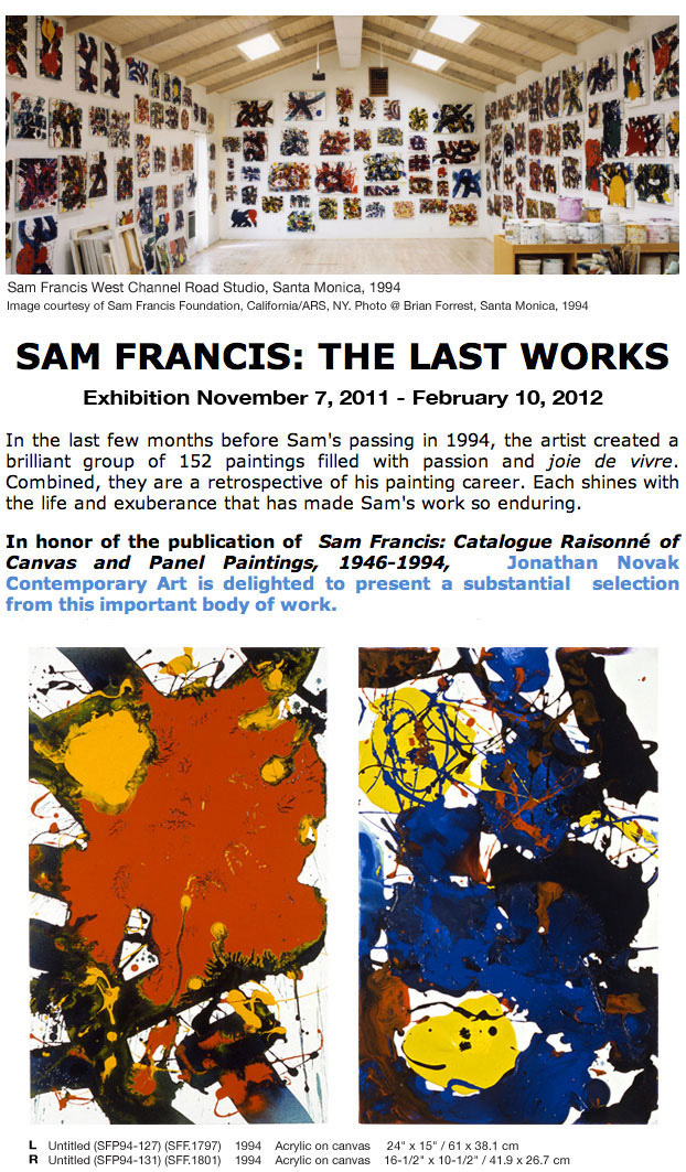 sam francis exhibition - the last works