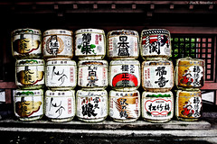 20110501 - Osaka - Sumiyoshi Ward - Sumiyoshitaisha Shrine - Wine Barrels (Jeremy Tan, KL) Tags: japan temple shrine wine label barrel alcohol osaka brand kansai geotag nationaltreasure sumiyoshi kinki sumiyoshitaisha  nihonshoki jinxstudio