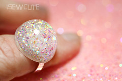 white glitter dome ring by isewcute (isewcute) Tags: white glitter modern silver globe mod unique twinkle ring round snowball handcrafted resin simple sparkly shimmer likesnow resinjewelry isewcute