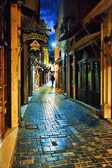 Rethymno: Old town alley (Theophilos) Tags: night alley oldtown rethymno stonepaved