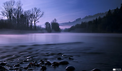 The River Aar [Explore 2011-11-25, Frontpage] (Daniel Wildi Photography) Tags: longexposure morning blue trees sky foothills mist water fog river flow switzerland early ngc smooth pebbles hills explore valley frontpage aar aare silky mnsingen rubigen 2011 cantonbern visipix danielwildiphotography