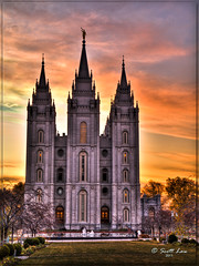 Salt Lake LDS Temple Sunset (Just Used Pixels) Tags: sunset temple utah saltlakecity mormon hdr mormontemple thechurchofjesuschristoflatterdaysaints ldstemple