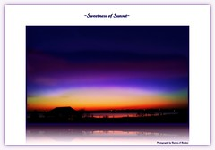 ~Sweetness of Sunset~ (Butterfly724) Tags: pink blue sunset sky orange reflection water yellow night skyscape landscape evening interesting purple unique artisticphotography skycolors layersofcolors photographybybarbraaborden moderncontemporaryphotography